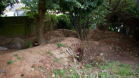 A badger sett in a garden in Sidmouth. Ref shs 38 18TI 1632. Picture: Terry Ife