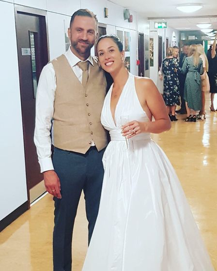 Rebecca and Mark Burdus wedding day was saved by Sidmouth College. Picture: Rebecca Burdus