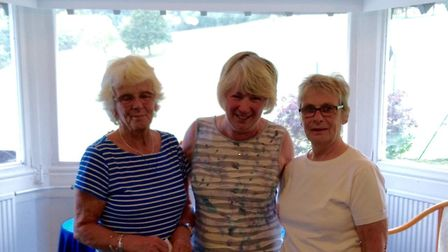 Sidmouth ladies Annual Invitation Day winners Penny Lye and Barbara Cummins (right), either side of
