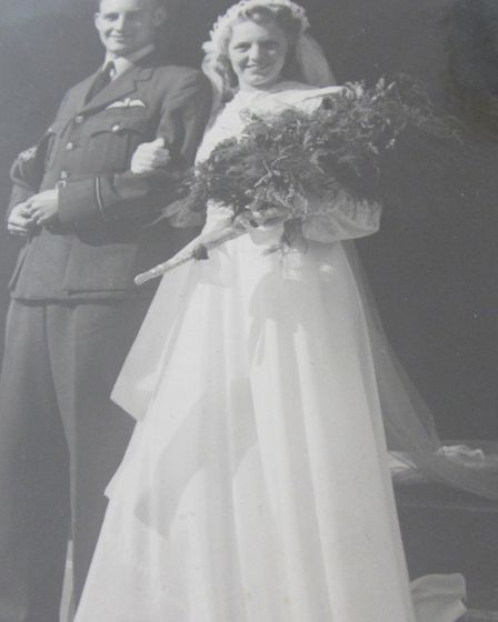 Les and Mary Harlow on their wedding day in 1943. Picture: Nick Irving