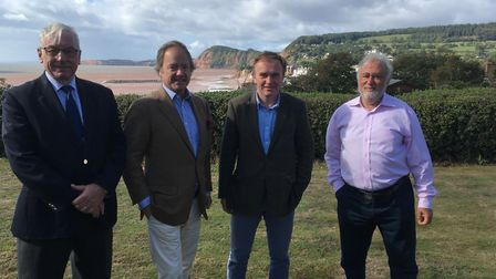 Tom Wright, chairman of the Sidmouth Beach management plan stakeholder group, with East Devon MP Sir