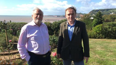 Resident Paul Griew with Defra minister George Eustice during his visit to talk about the town's ong