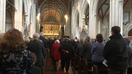 Some 254 attended the funeral of Phyllis Baxter at Ottery Parish Church on Wednesday. Picture: Clari