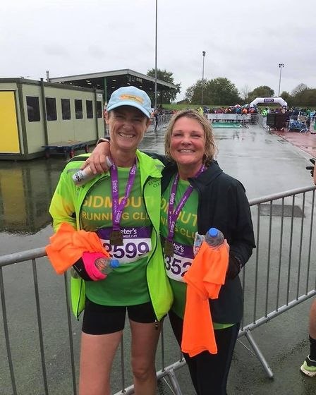 Sidmouth Running Club members Jo Earlam and Amelia Frankpitt at the Arena having completed the Great