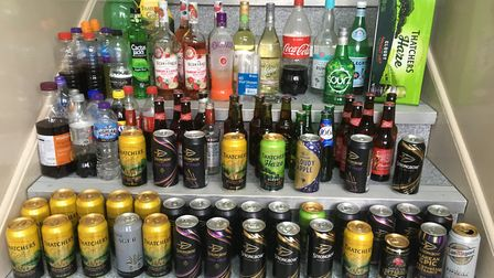 Alcohol confiscated from 14-17 year olds at the Seaton and Colyton carnivals. Picture: Contributed