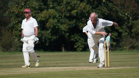 Tipton's David Birch bolwing in the meeting with Kays. The batsman in picture is Darren Clarke who s