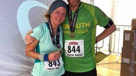 Sidmouth Running Club duo Martin and Kate Trueman at the 2018 Loch Ness Marathon. Picture CONTRIBUTE