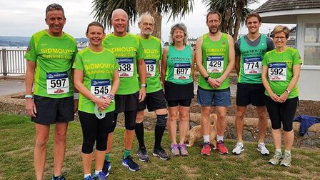 The eight members of Sidmouth Running Club that took part in the Bradleys 10k at Exmouth. (Left to r