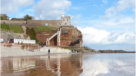 Reflections at low tide, Jacobs Ladder, Sidmouth. Just a little bit of water on the sand gave this