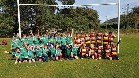 Sidmouth and Honiton RFC Under-9s before their meeting. Picture CONTRIBUTED