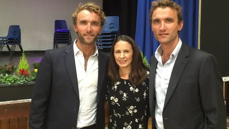 Ross (left) and Hugo Turner with Jo Pavey. Picture: The King's School