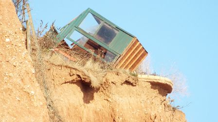 The fallen shed on Sidmouth cliff. Picture: Sam Cooper