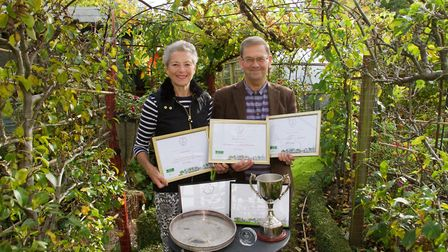Sidmouth in Bloom's Lynette Talbot and Peter Endersby with their awards. Ref shs 43 18TI 3655. Pictu