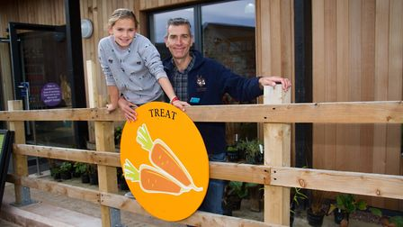 Maisie Crouch with her dad John on the Trick or Treat Trail in Sidmouth Donkey Sanctuary. Ref shs 43