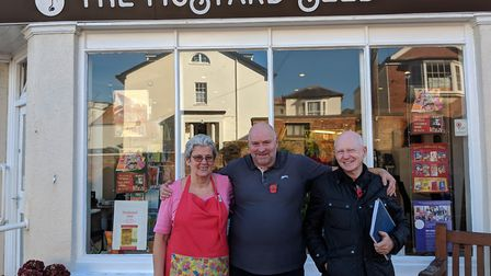 Sally Wilshaw, who works at the Mustard Seed cafe, alongside Gary Sykes and Tim Swarbrick. Picture: