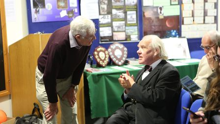 Dr Allan Chapman talking with Dr Kieth Orrell, another speaker at the event. Picture: Peter Youd