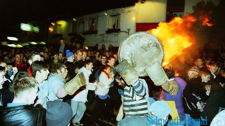 Ottery Tar Barrel Night 1997. Picture: Sidmouth Herald archive