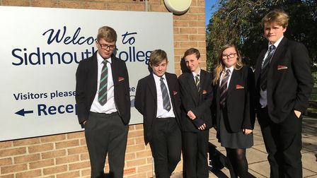Sidmouth college pupils Matthew, Harry, Jamie, Lucy and Will. Picture: Philippa Davies