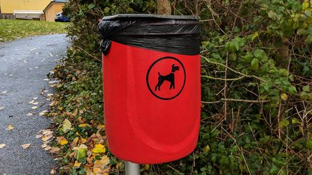 The dog bin in Lindemann Close where the trapped cat was found. Picture: Sam Cooper