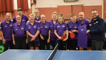 Ottery St Mary Tennis Table Club in their new shirts from Otter Garden Centres. Picture: Sue Cade