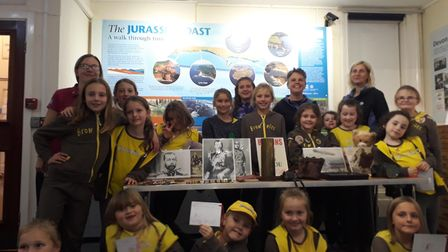 Sidford Brownies visited Sidmouth Museum to see artefacts from World War One. Picture: Contributed