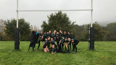 The Sidmouth Under-15 girls who were so impressive in their 17-10 win at Winscombe. Picture CONTRIBU