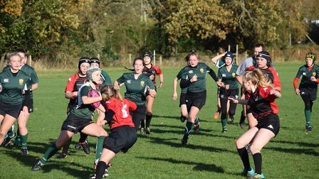 Sidmouth Under-15 girls in action against Exeter. Picture CONTRIBUTED