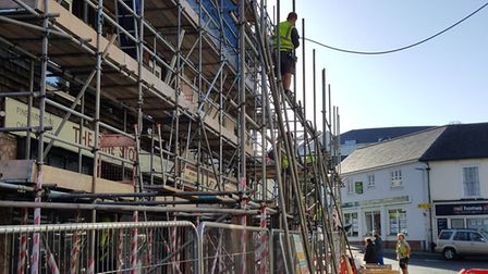 Good news as the outer scaffolding is starting to come down. Picture: Jeff Abbott
