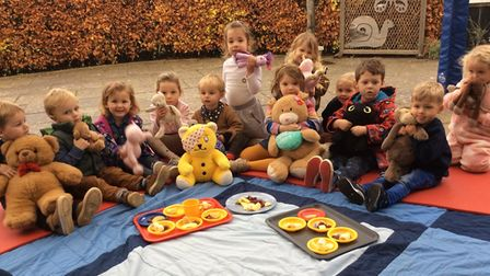 Uplyme Pre-School children took along their cuddly toys for a Teddy Bears picnic on Children in Need