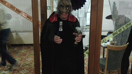 A Sidmouth bowler dressed up for the club Halloween Evening. Picture CONTRIBUTED