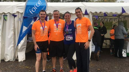 Matthew Cole, Simon Cole, Kim Barnard and Stuart Coombe were part of the Old Mill team to complete t