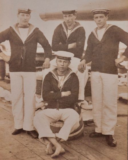 Ernest Channing (standing on the right) with his navy friends. Picture: Di Tapley