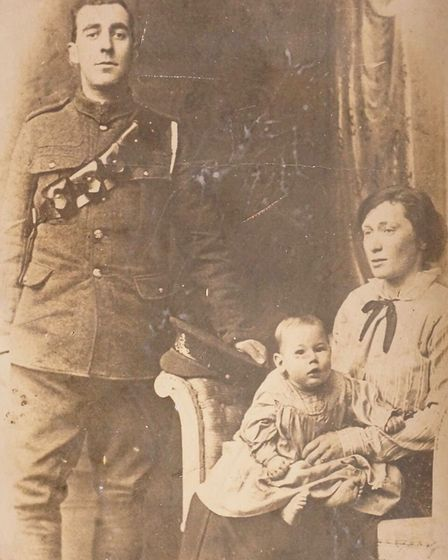 Ralph, wife Florence and baby Phillip while Ralph home on leave autumn 1916. Picture: Adrian Clode