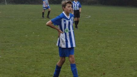 Ottery St Mary U13s striker Finn Upsher who scored goals number 14 and 15 of the season in the Otter