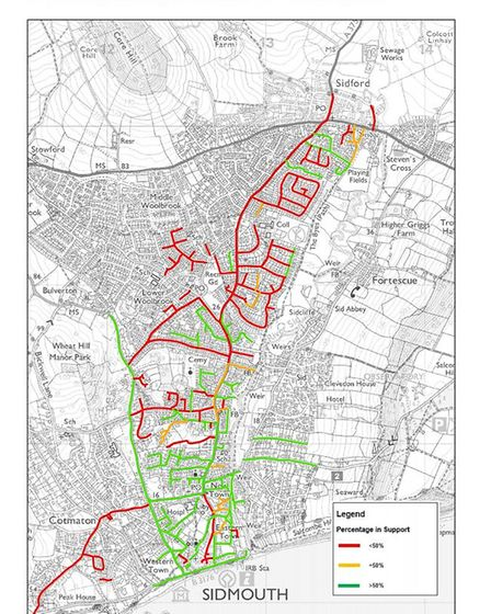 Map showing the support (or lack of) for resident parking. In Green, more than 50 per cent supported