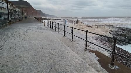 The sea foam on Sidmouth seafront. Picture: Paul Taylor.