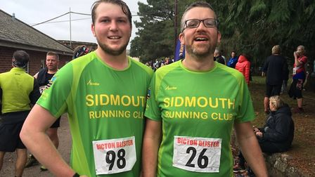 Sidmouth Running Club members Kyle Baker with Chris Day-Kerry having completed the Bicton Blister. P