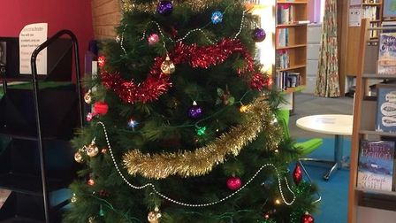 The library is ready for Christmas with the tree added. Picture: Sidmouth Library