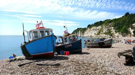 Fishing boats on the beach at Beer. Picture: Penny Lamb
