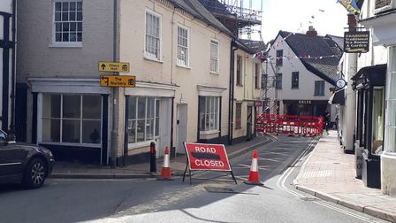 Silver Street road closure viewed from the library. Picture: Claire Wright