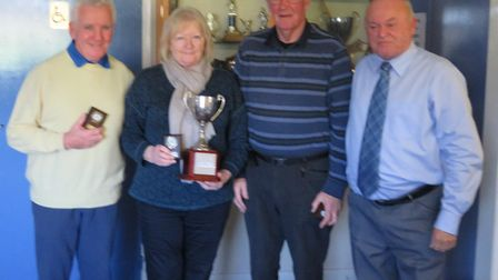 The Ottery St Mary petanque triples team of John and Rose Thatcher and peter Smith, together with Ge