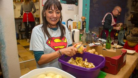 Supporters turn up to cheer Samosa Lady of Ottery Tina Chauhan-Challis as she completed her 24 hour