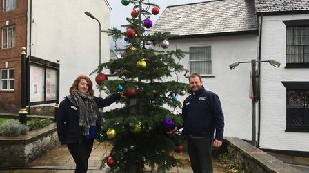 Lucy Wederell and John Giblin from Otter Garden Centre with the newly decorated Christmas tree the b