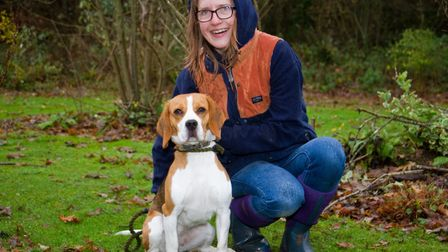 ARC staff with Quinn the beagle. Ref shs 49 18TI 6369. Picture: Terry Ife