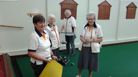 Action from the Sidmouth Bowls Club's Friday Triples League. Picture CAROL SMITH