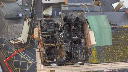An aerial view of the building following the fire on September 14. Picture: Kingston Building Contra