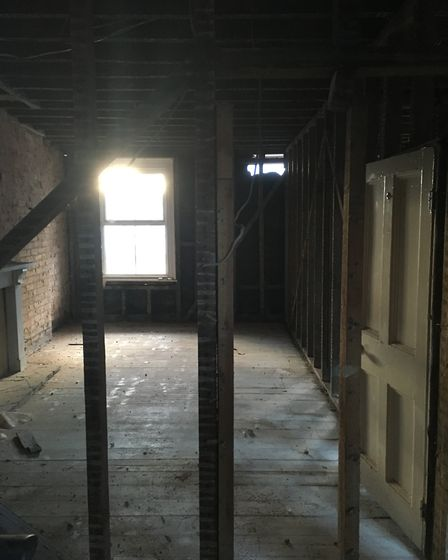 More than a month after the fire, rooms are starting to shape again. Picture: Clarissa Place