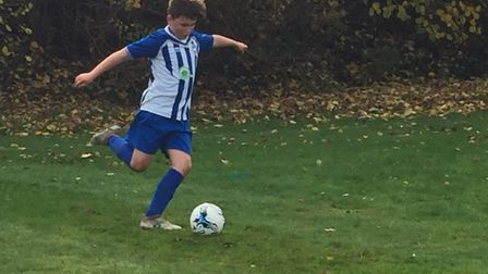 Ottery St Mary Under-13s player Freddie Clarke who was outstanding with his work closing down Credit