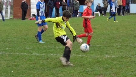 Jack Hembrow was outstanding in goal for Ottery Under-13s as they drew away at Alphington. Picture S