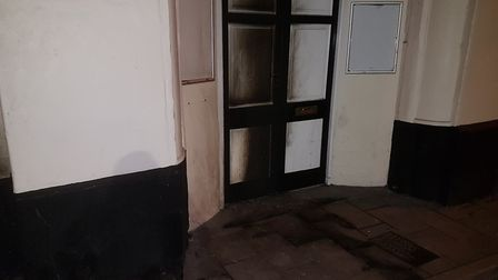 Fire damage on the door of the King's Arms. Picture: Rob McGovern